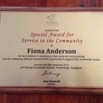 Award November 2013 Fiona Anderson